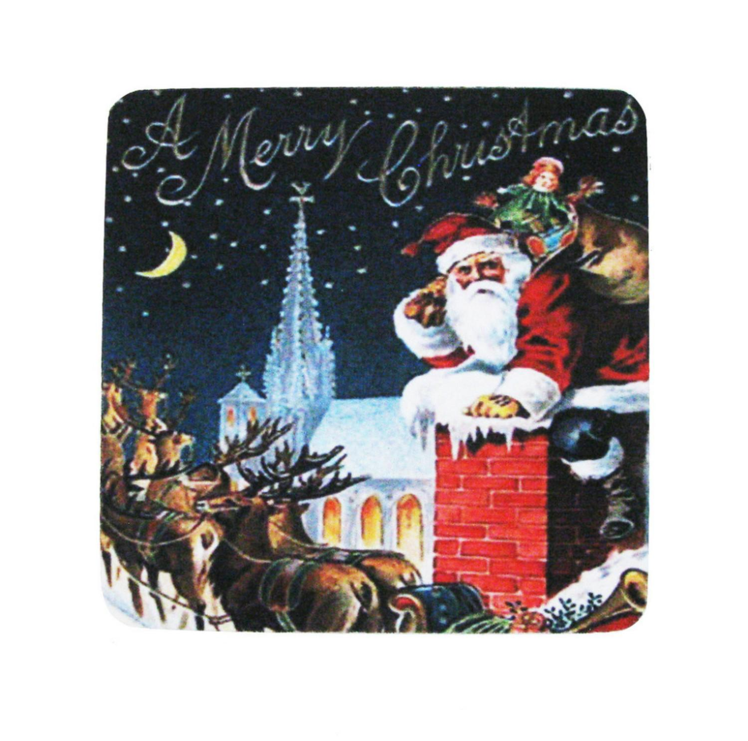 Pack of 8 Absorbent Santa Claus Chimney Merry Christmas Cocktail Drink Coasters 4""