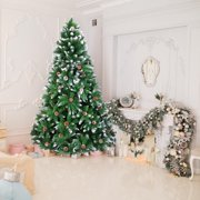 UBesGoo 7FT Hinged Artificial Christmas Tree,Snow Flocked Trees with Pine Cone Decoration Unlit,