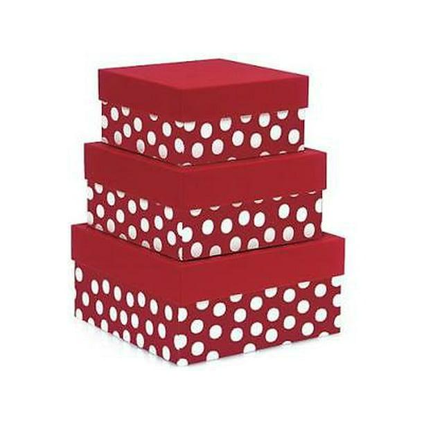 1 Unit Polka Dot Red Nested Boxeslarge 3 Piece Square Gift Boxes Unit Pack 1 Walmart Com Walmart Com