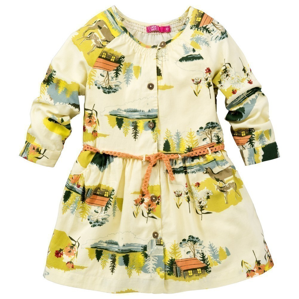 CakeWalk Baby Girls Ivory Suzuki Long Sleeve Dress 9M