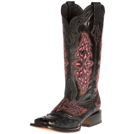 Lucchese Boot Company Womens Black Full Quill Ostrich 13in Black/Pink