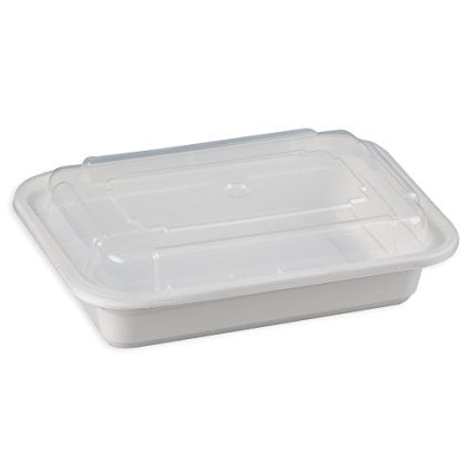 Safepro 16 Oz White Rectangular Microwavable Container With Clear