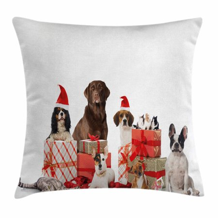 Christmas Throw Pillow Cushion Cover, Several Pets with Surprise Christmas Presents Adorable Dogs Cats and Rabbits, Decorative Square Accent Pillow Case, 18 X 18 Inches, Brown Red White, by -