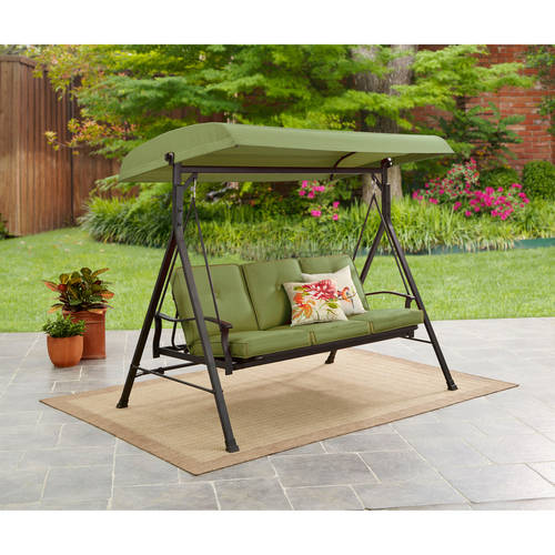 Mainstays Belden Park 3-Person Canopy Porch Swing Bed by Courtyard Creations Inc