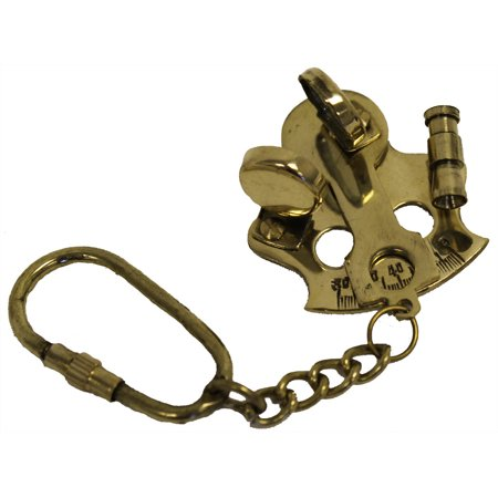 BRASS POCKET SEXTANT - Key Chain - NAUTICAL ASTROLABE