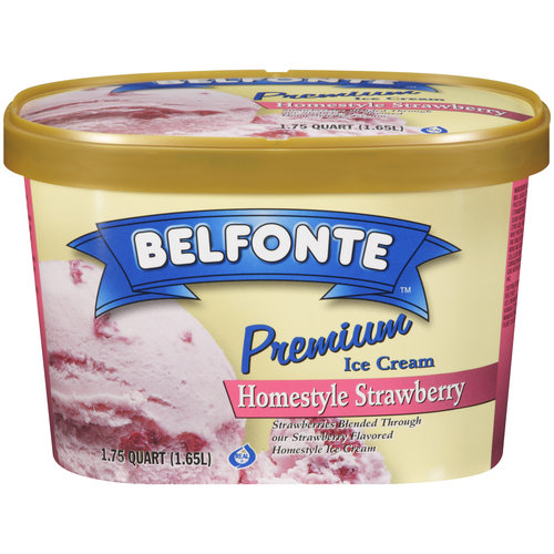 Belfonte Premium Homestyle Strawberry Ice Cream, 1.75 qt