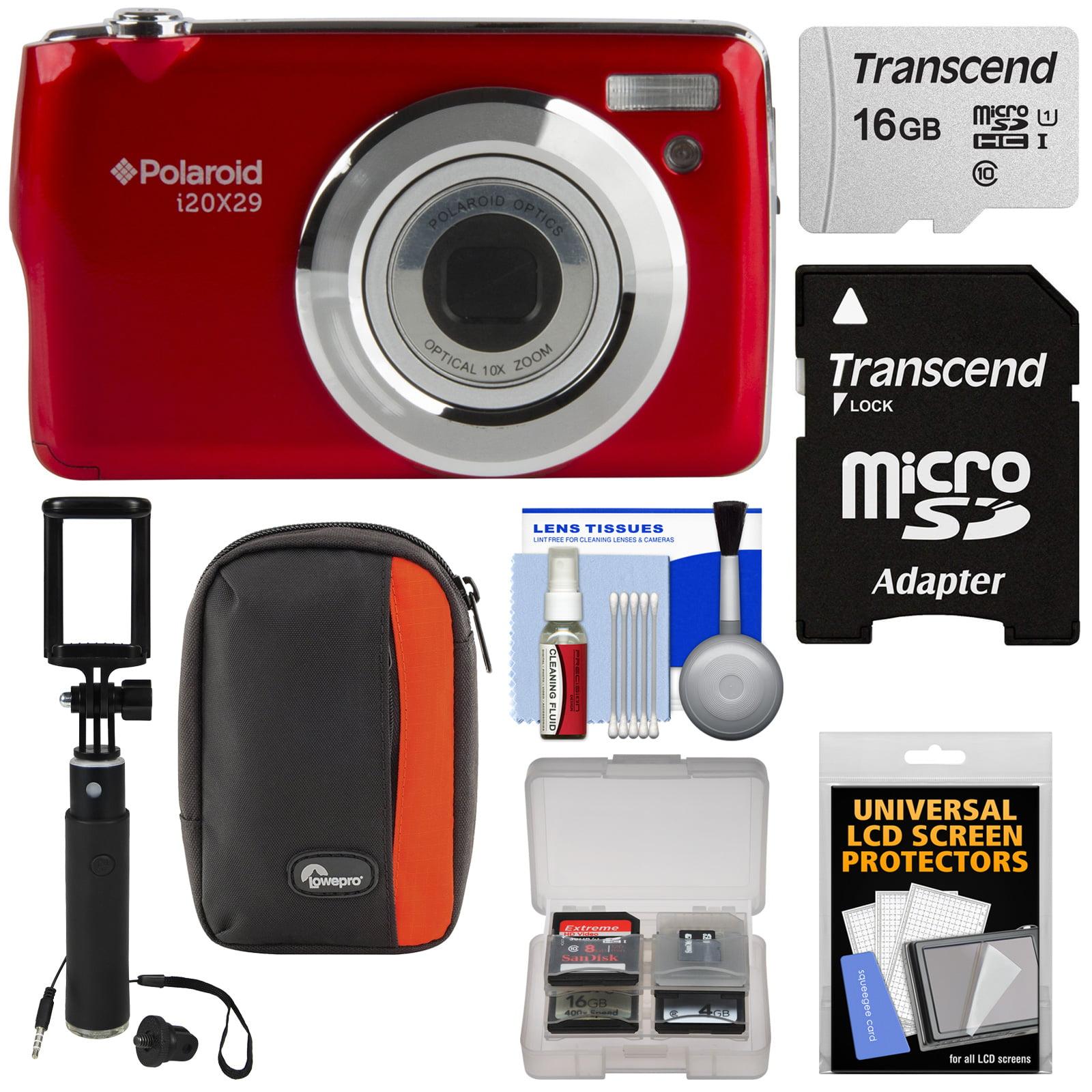 Polaroid i20X29 Digital Camera (Red) with 16GB Card + Case + Selfi Stick + Kit