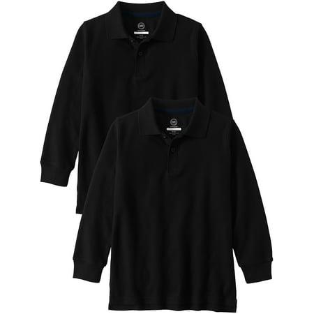 Wonder Nation School Uniform Long Sleeve Double Pique Polo, 2-Pack Value Bundle (Little Boys & Big Boys)
