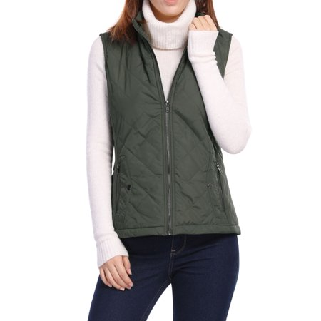 Women's Mock Pocket Quilted Padded Vest Warm Jacket Coat Outerwear (Brown Womens Coat)