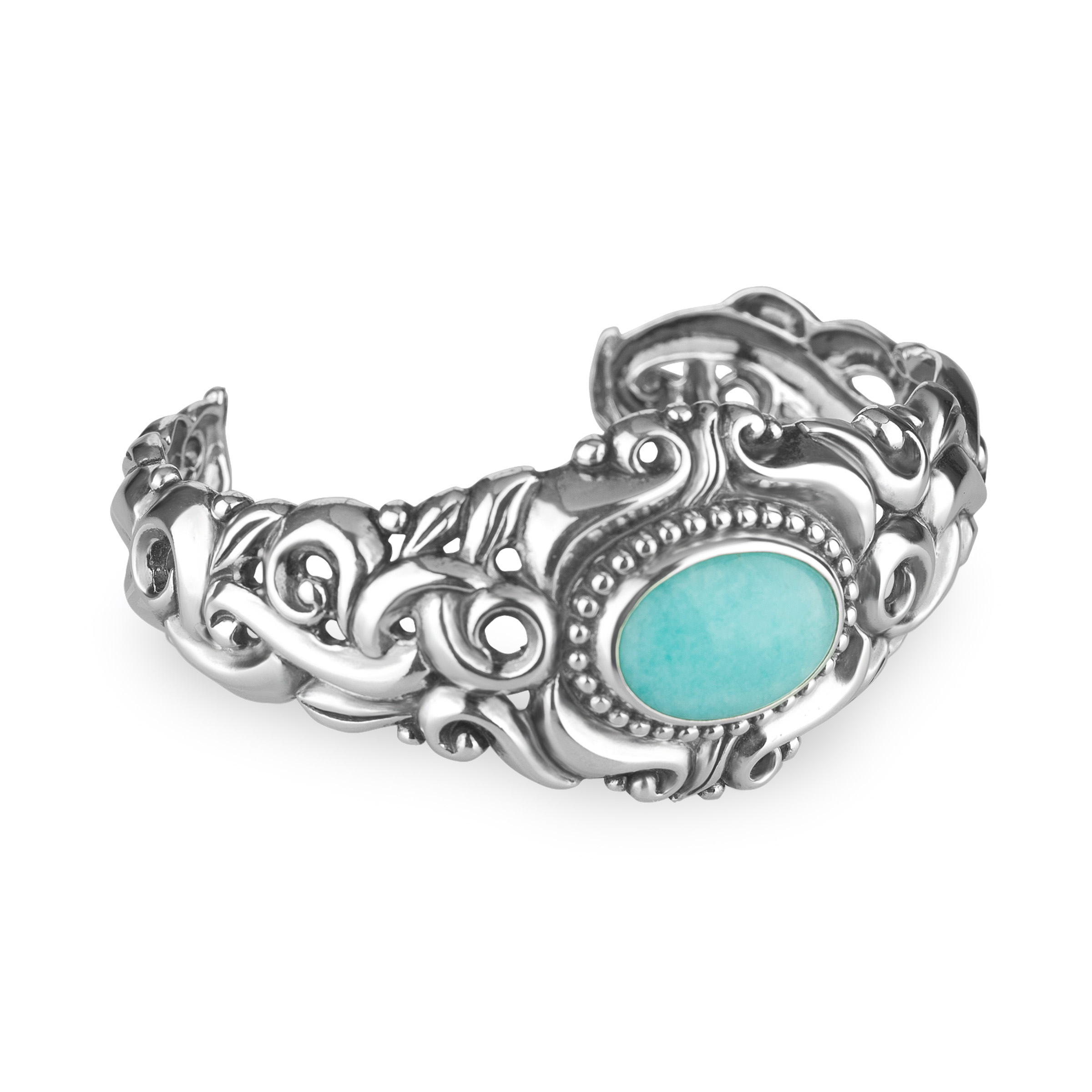 Carolyn Pollack Amazonite Cuff Bracelet in Sterling Silver