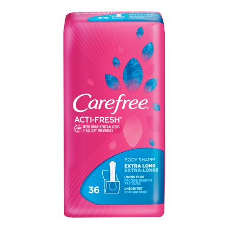 Thin Pantiliners - Carefree Acti-Fresh Body Shaped Pantiliners Unscented Extra Long - 36 Count