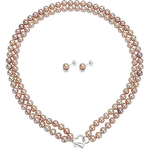 "Double Row 7-8mm Pink Freshwater Pearl Heart-Shape Sterling Silver Clasp Necklace (18"") with Bonus Pearl Stud Earrings"