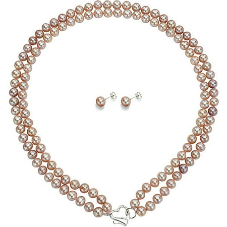 """ADDURN Double Row 7-8mm Pink Freshwater Pearl Heart-Shape Sterling Silver Clasp Necklace (18"""") with Bonus Pearl Stud Earrings"""