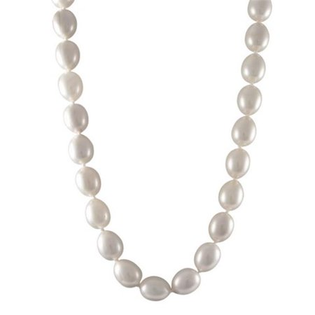 Dlux Jewels 12 x 15 mm Oval Shape Southsea Semi-Bright Shell Pearls Necklace with 18 in. Sterling Silver Lobster Lock