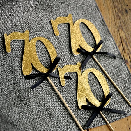 70 Party Clothes (70th Birthday Centerpieces in Gold and Black. 70 Party Decorations. 70th Anniversary Party Centerpiece Set of)