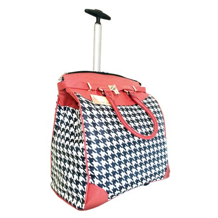 TrendyFlyer Computer Laptop Rolling Bag 2 Wheel Case Houndstooth Red ()