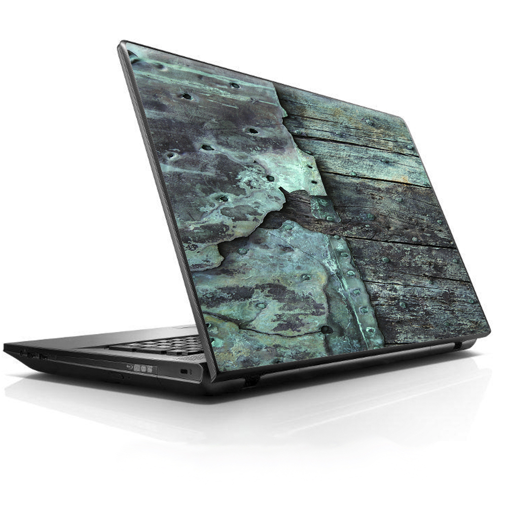 "Laptop Notebook Universal Skin Decal Fits 13.3"" to 15.6"" / Patina Metal and Wood Blue"