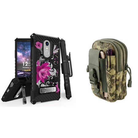 BC Military Grade [MIL-STD 810G-516.6] Kickstand Belt Holster Case (Magenta Flower) with ACU Camo Tactical EDC MOLLE Utility Waist Pack Holder Pouch, Atom Cloth for LG Stylo 4+ Plus/LG Stylo 4 (2018) Mag Acu Camo