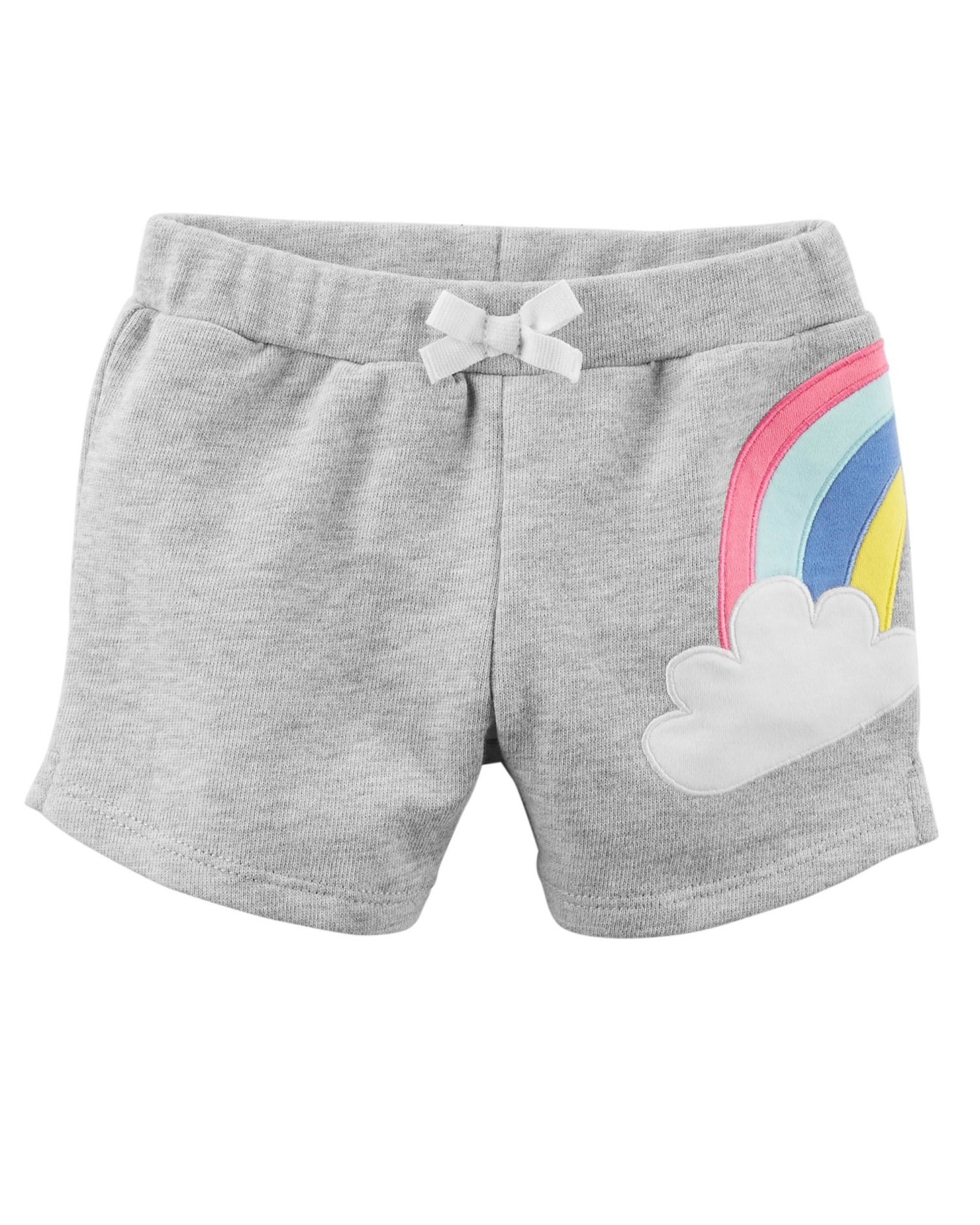 Carter's Baby Girls' Rainbow French Terry Shorts, Gray