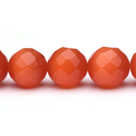 Faceted Cats Eye Round Glass - Fire Orange Cat's Eye Beads Faceted Round Fiber Optic Glass Beads 16mm