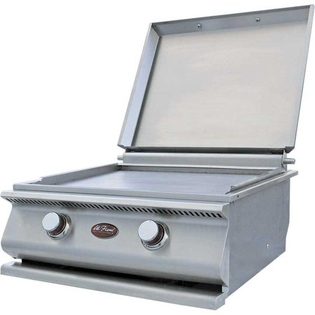 Cal Flame 15,000 BTU 2-Burner Built-In Stainless Steel Propane Gas Hibachi Flat Top Griddle