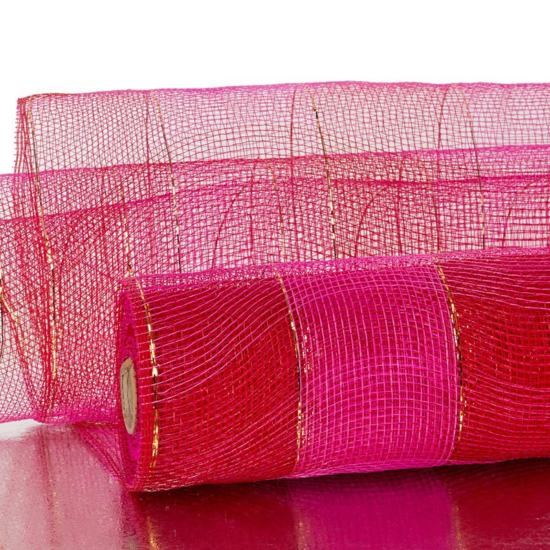 "21""X10 Yards Hot Pink/Red 2-Clrd Wide Stripe Deco Mesh by Paper Mart"