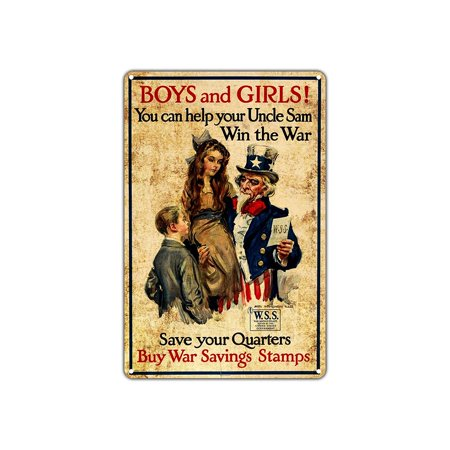 Boys and Girls Help Uncle Sam Win The War Buy Stamps Vintage Retro Metal Wall Decor Art Shop Man Cave Bar Aluminum 8