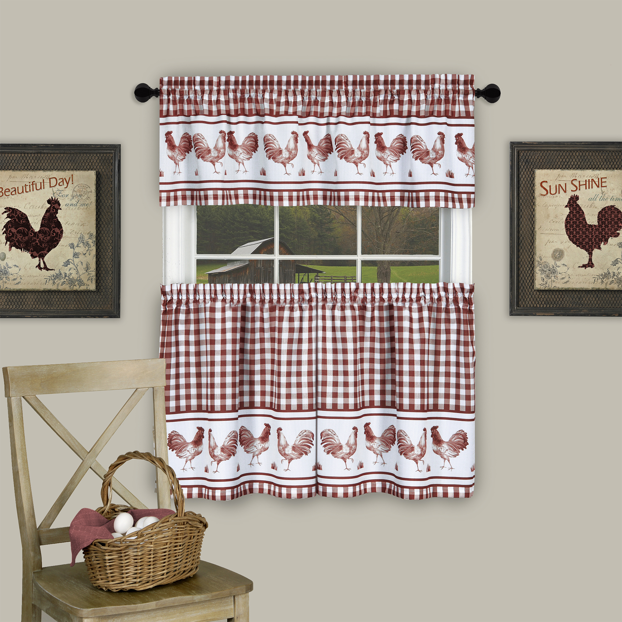 Country Home Plaid Rooster Kitchen Curtain Tier & Valance Set (36 in. L) - Burgundy