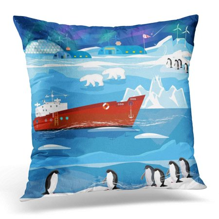 CMFUN Travel to Antarctic and Arctic Ice Breaker Penguins Polar Lights Animals of Antarctica Scientific Base Pillow Case Pillow Cover 20x20 inch (Arctic Polar Ice)
