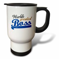 3dRose Worlds Greatest Boss - Best work boss ever - blue and gold text on white - fun office gifts, Travel Mug, 14oz, Stainless Steel