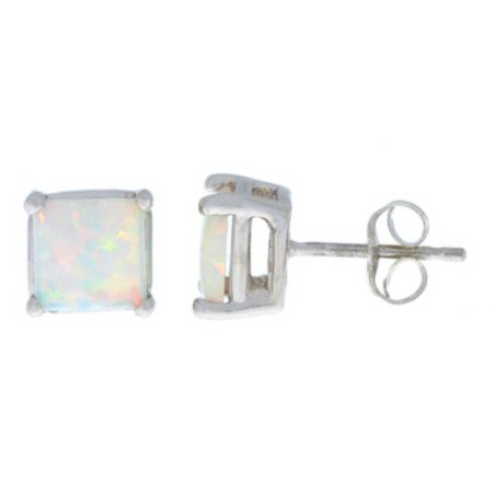 Opal Princess Cut Stud Earrings 14Kt White Gold Strand Tourmaline Earrings