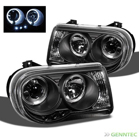 2005-2010 Chrysler 300C Twin Halo LED Projector Headlights Black Head Light Pair Left+Right 2006 2007 2008