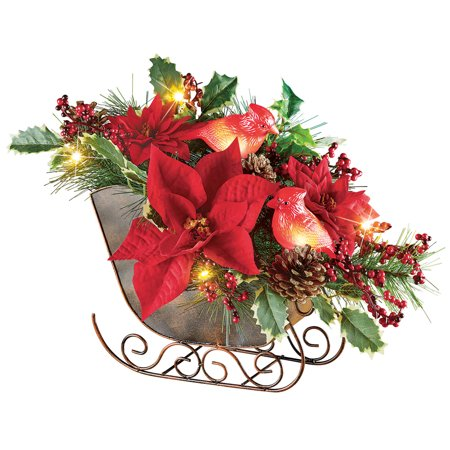Lighted Sleigh Elegant Christmas Centerpiece Decoration with Cardinals, Poinsettias, Pinecones & Holly (Cool Centerpieces)