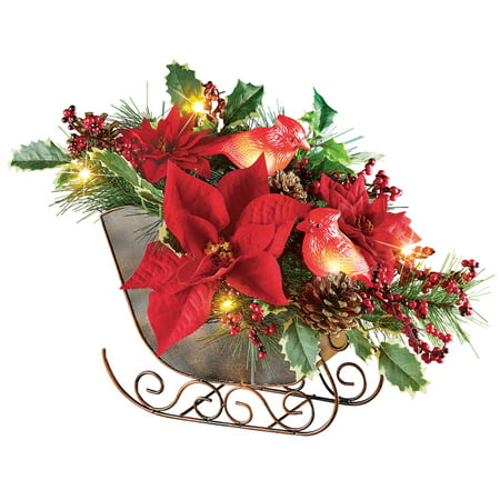 Lighted Sleigh Elegant Christmas Centerpiece Decoration with Cardinals, Poinsettias, Pinecones & - Hawaiian Centerpieces