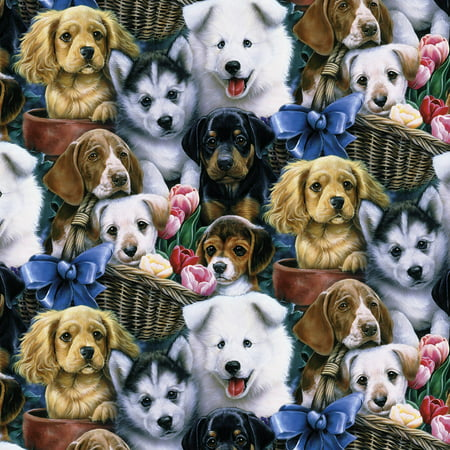David Textiles Cotton Precut Fabric Valentine's Puppies 1 Yd X 44 Inches (Yd Halloween Special)