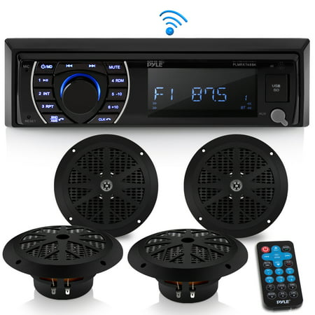 Pyle Professional Stereo Speakers (PYLE PLMRKT48BK - Marine Head Unit Receiver Speaker Kit - in-Dash LCD Digital Stereo Built-in Bluetooth & Microphone w/AM FM Radio System 6.5'' Waterproof Speakers (4) MP3/SD Readers & Remote Control)