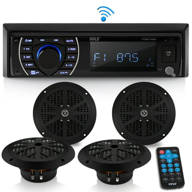 PYLE PLMRKT48BK - Marine Head Unit Receiver Speaker Kit - in-Dash LCD Digital Stereo Built-in Bluetooth & Microphone w/AM FM Radio System 6.5'' Waterproof Speakers (4) MP3/SD Readers & Remote Control