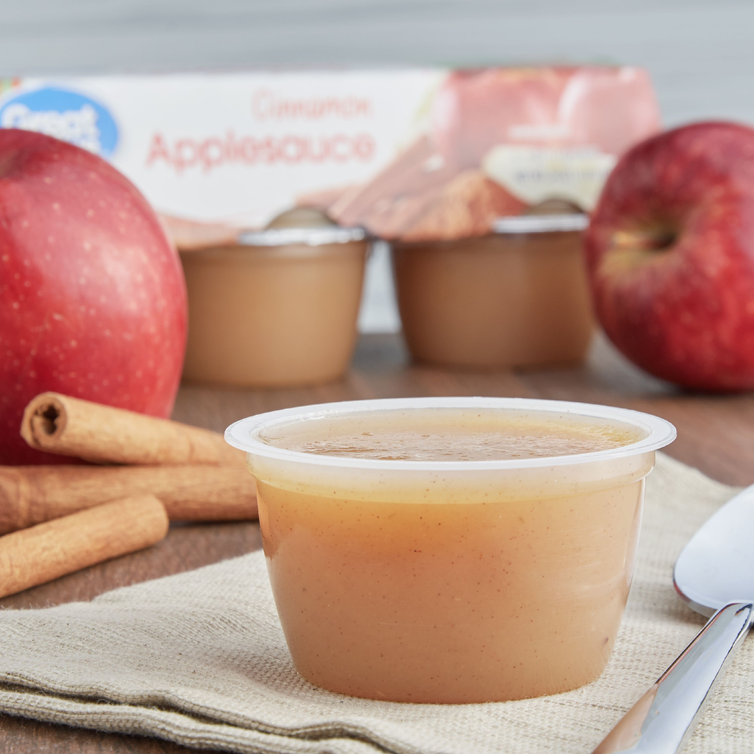 (3 Pack) Great Value Applesauce Cups, Cinnamon, 6 Count