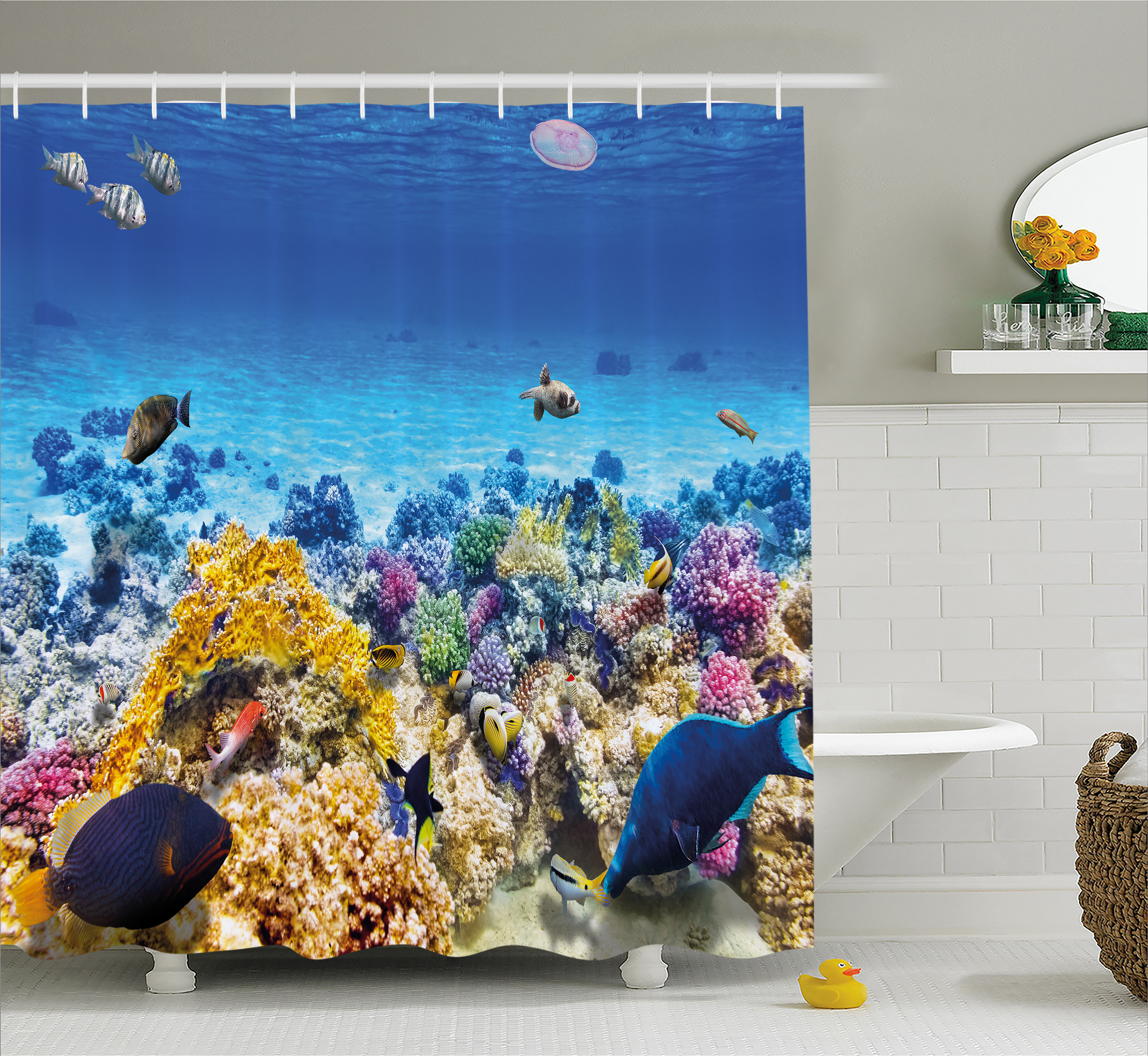 Ocean Decor Shower Curtain, Underwater Sea World Scene with Goldfish Starfish Jellyfish Depth Diving Concept, Fabric Bathroom Set with Hooks, 69W X 75L Inches Long, Turquoise, by Ambesonne