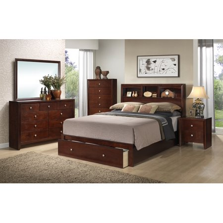 (4PCs Rich Cherry Veneer Storage California King Bed Frame W/Nightstand Dresser Mirror Bedroom Furniture)