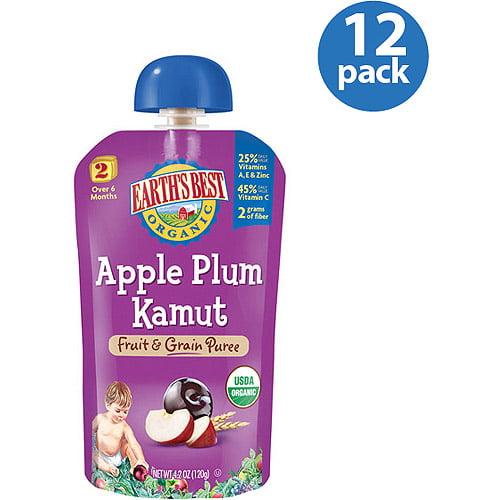 Earth's Best Organic Apple Plum Kamut Fruit & Grain Puree, 4.2 oz (Pack of 12)