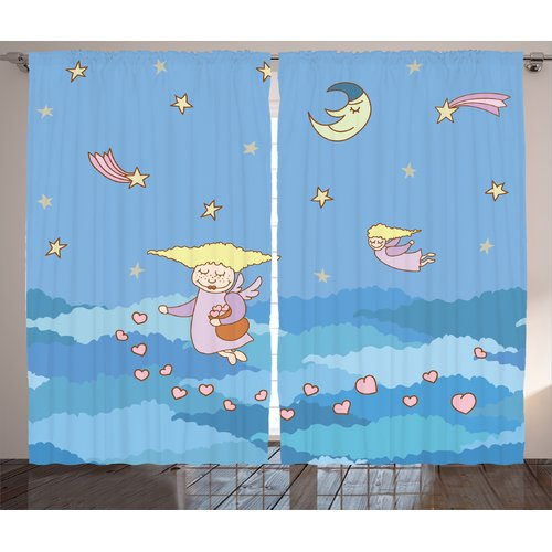 Zoomie Kids Madisyn Flying Hearts On The Night Sky Semi-Sheer Rod Pocket Curtain Panels (Set of 2)