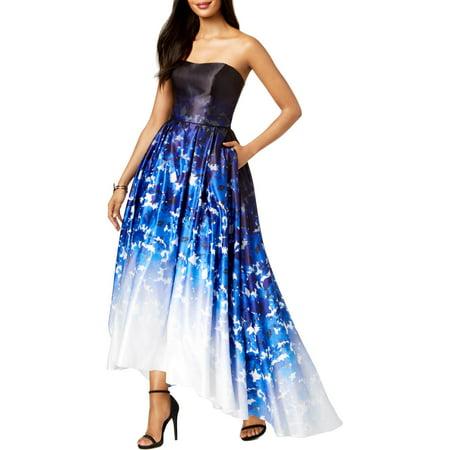 Betsy & Adam Women's Ombre Printed Strapless Ballgown (8, Blue Multi)](Morticia Addams Dresses)