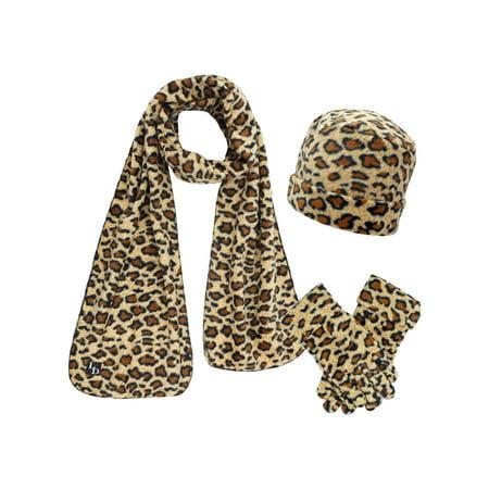 1e8137bd6dc Luxury Divas - Animal Print Fleece Hat Scarf   Matching Glove Set -  Walmart.com