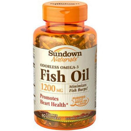 Sundown omega 3 fish oil 1200 mgsoftgels 60 ct pack of 3 for Omega 3 fish oil walmart