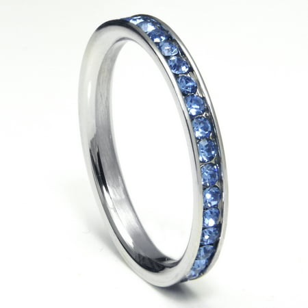 316L Stainless Steel Tanzanite Blue Cubic Zirconia CZ Eternity Wedding 3MM Band Ring Sz 7