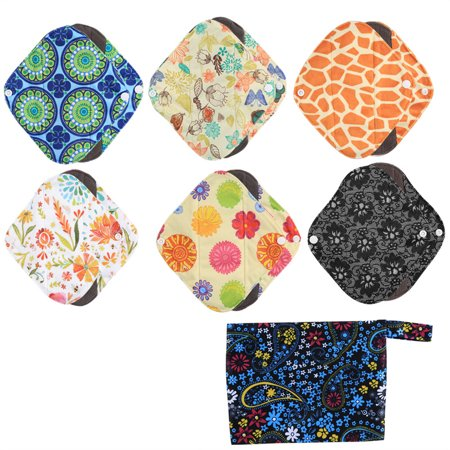 7 Pieces Menstrual Set 6 Sanitary Reusable Cloth Feminine Menstrual Pads+1 Washable Wet Bag Pouch for Women Soft and (Best Reusable Menstrual Pads)