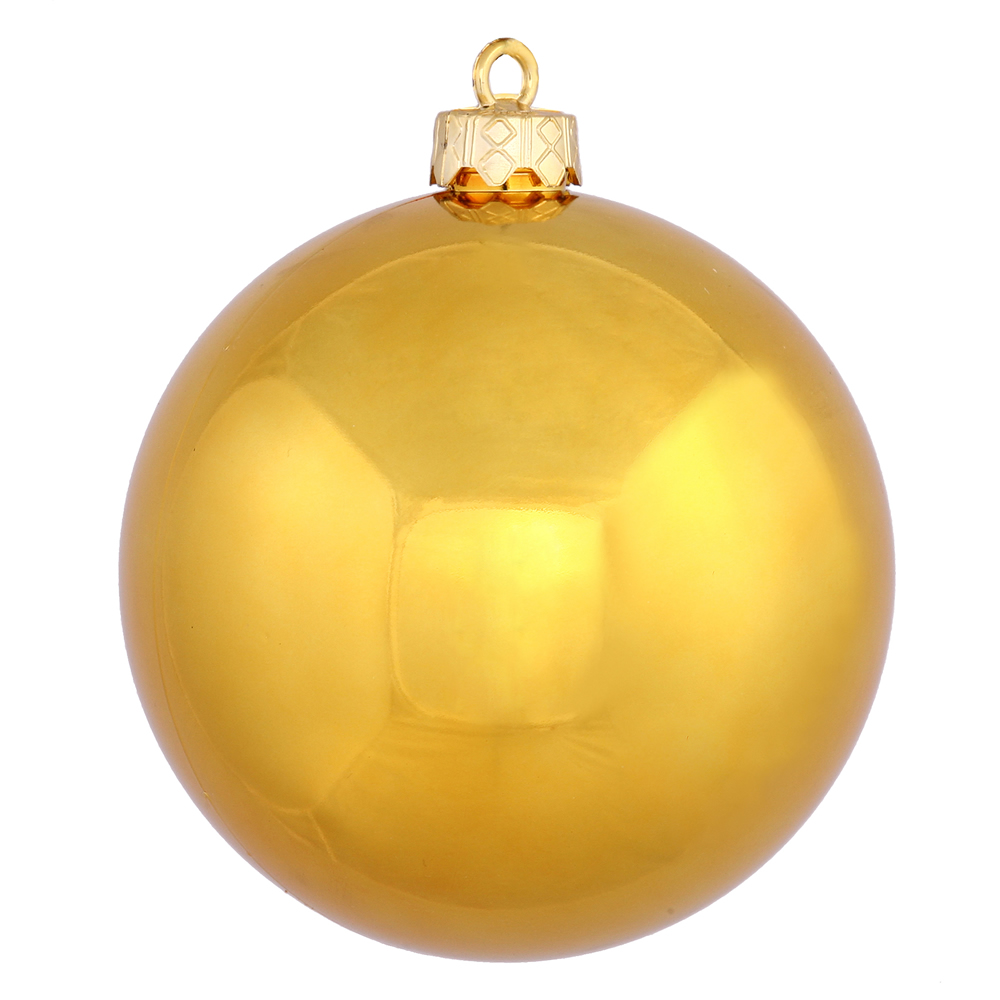 "12ct Antique Gold Shiny UV Drilled Shatterproof Christmas Ball Ornaments 3"" (75mm)"