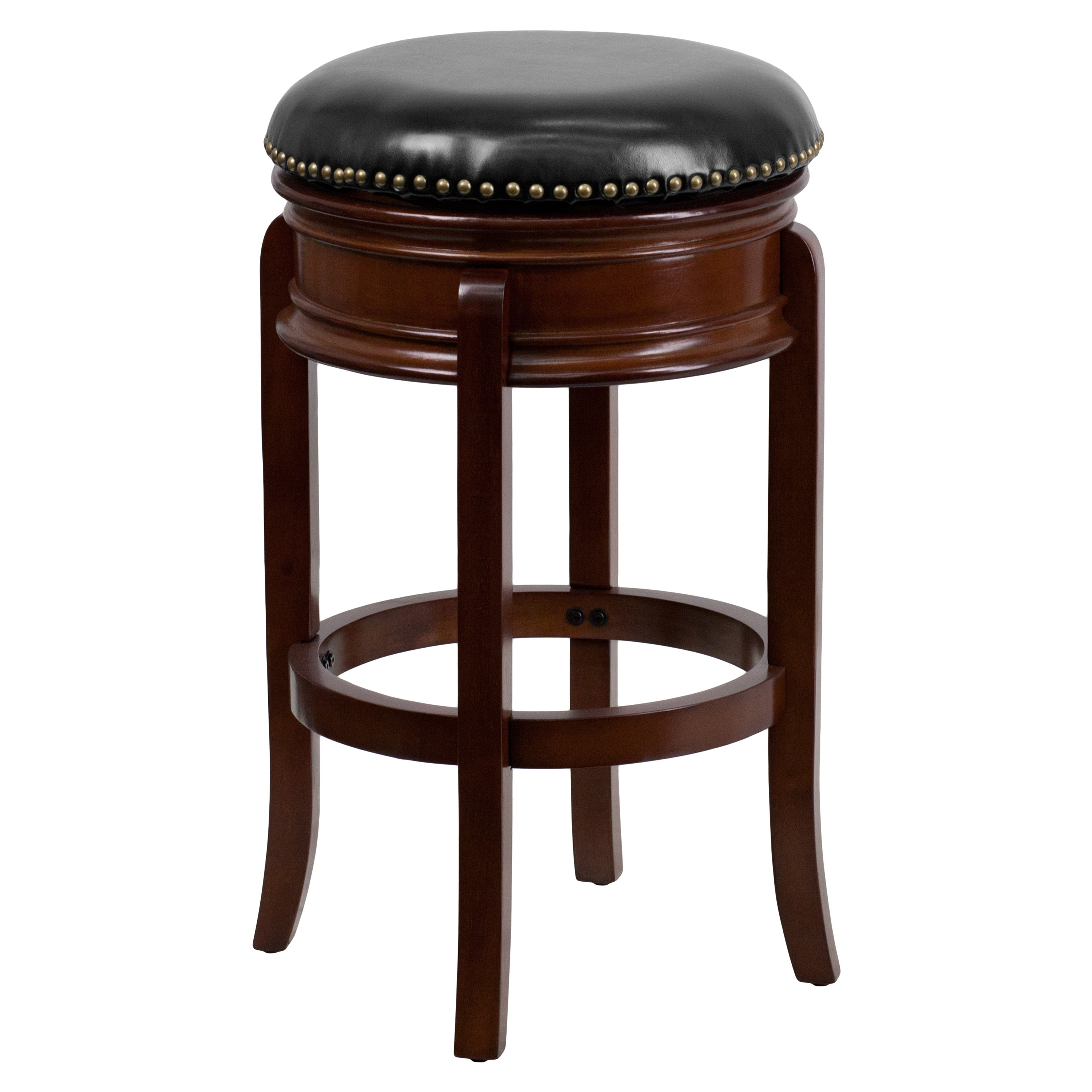 Super Flash Furniture 29 Backless Wood Bar Stool With Black Leather Swivel Seat Squirreltailoven Fun Painted Chair Ideas Images Squirreltailovenorg