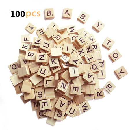 Wooden Scrabble Tiles,100 Pcs Wooden Alphabet Scrabble Tiles Letters Alphabet Wooden Pieces Numbers Pendants Spelling DIY Wood for Crafts Pendants Spelling (Scrabble Letters For Crafts)